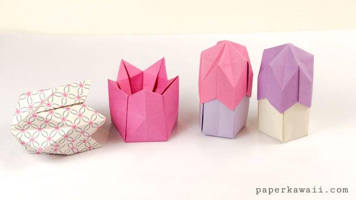 Origami Pentagonal Box Variations Tutorial via @paper_kawaii