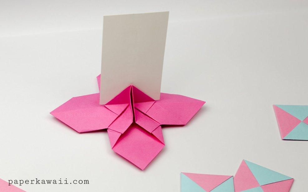 Origami Flower Card Holder Instructions Paper Kawaii
