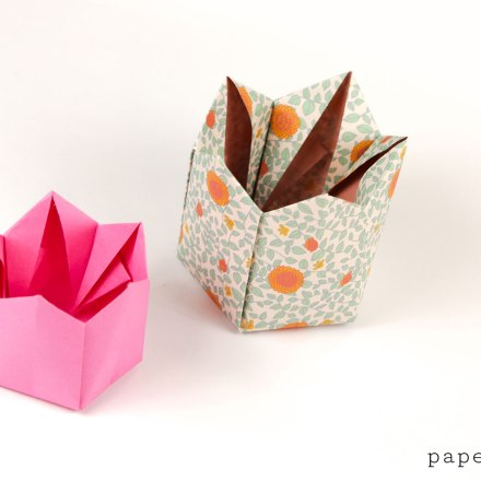 Tall Origami Crown Box Instructions via @paper_kawaii