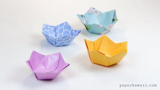 Origami Flower Bowl Tutorial via @paper_kawaii