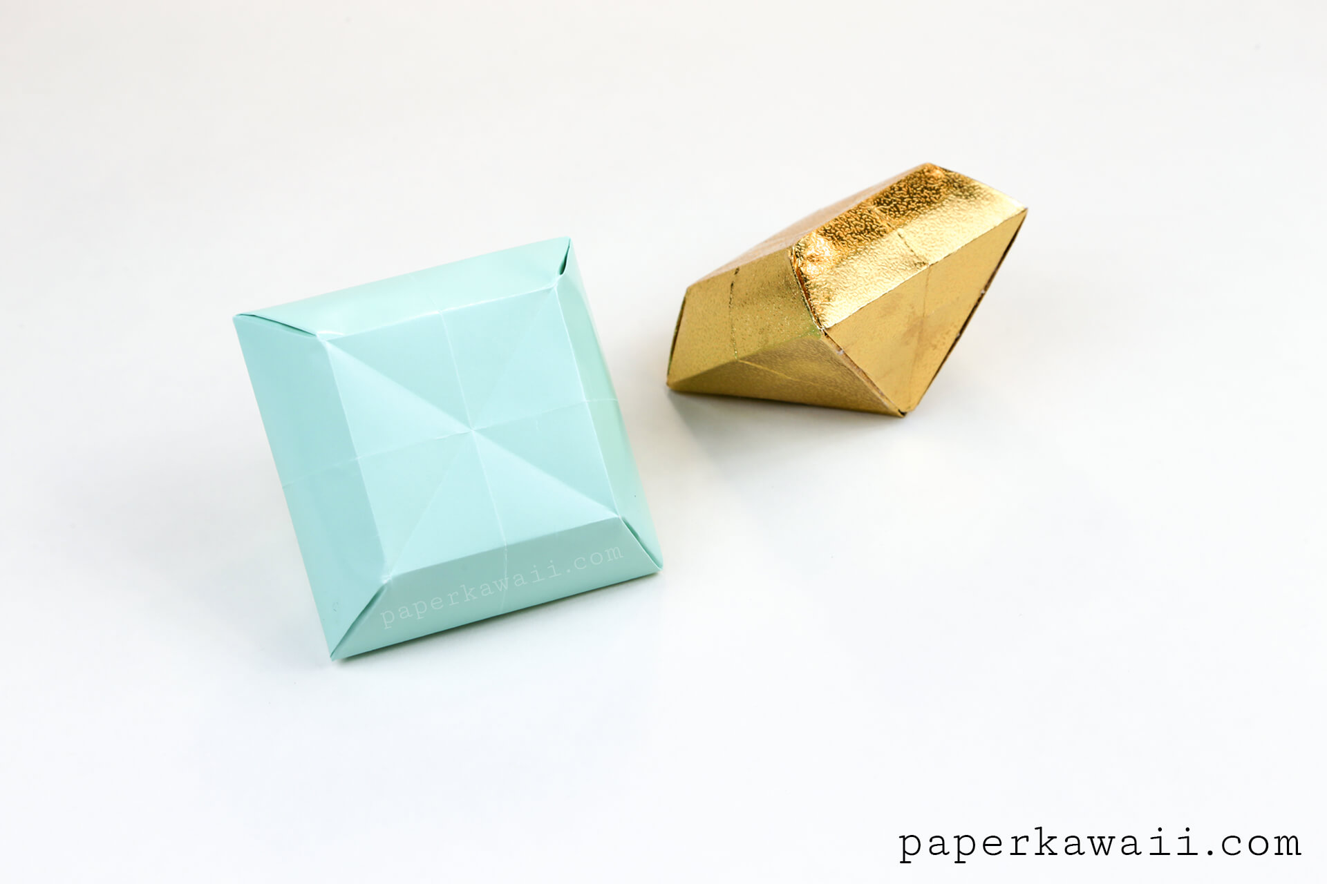 origami paper crystal tutorial make 3d gems paper kawaii