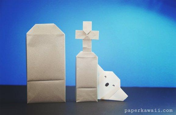 Origami Grave Stone Box – Halloween Origami