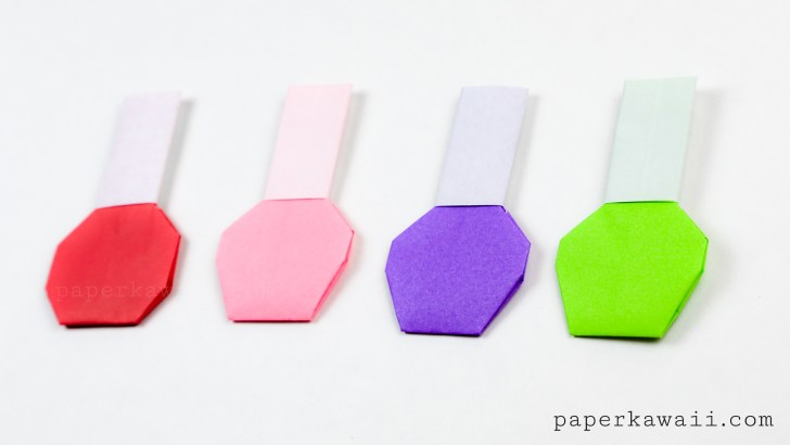 Origami Nail Polish Bottle Instructions via @paper_kawaii