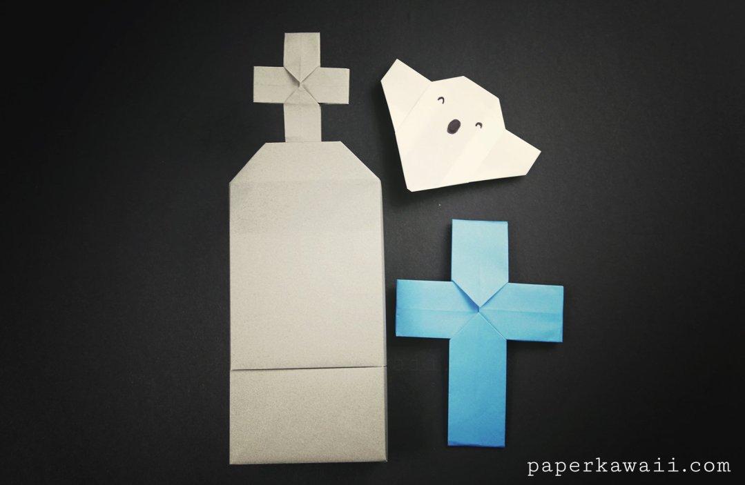 Origami Grave Stone Box - Halloween Origami via @paper_kawaii