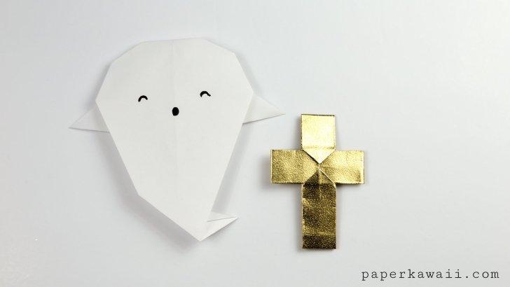 easy origami ghost tutorial for halloween paper kawaii
