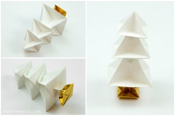 Stacked white origami Christmas tree!origami-christmas-tree-kawaii-00