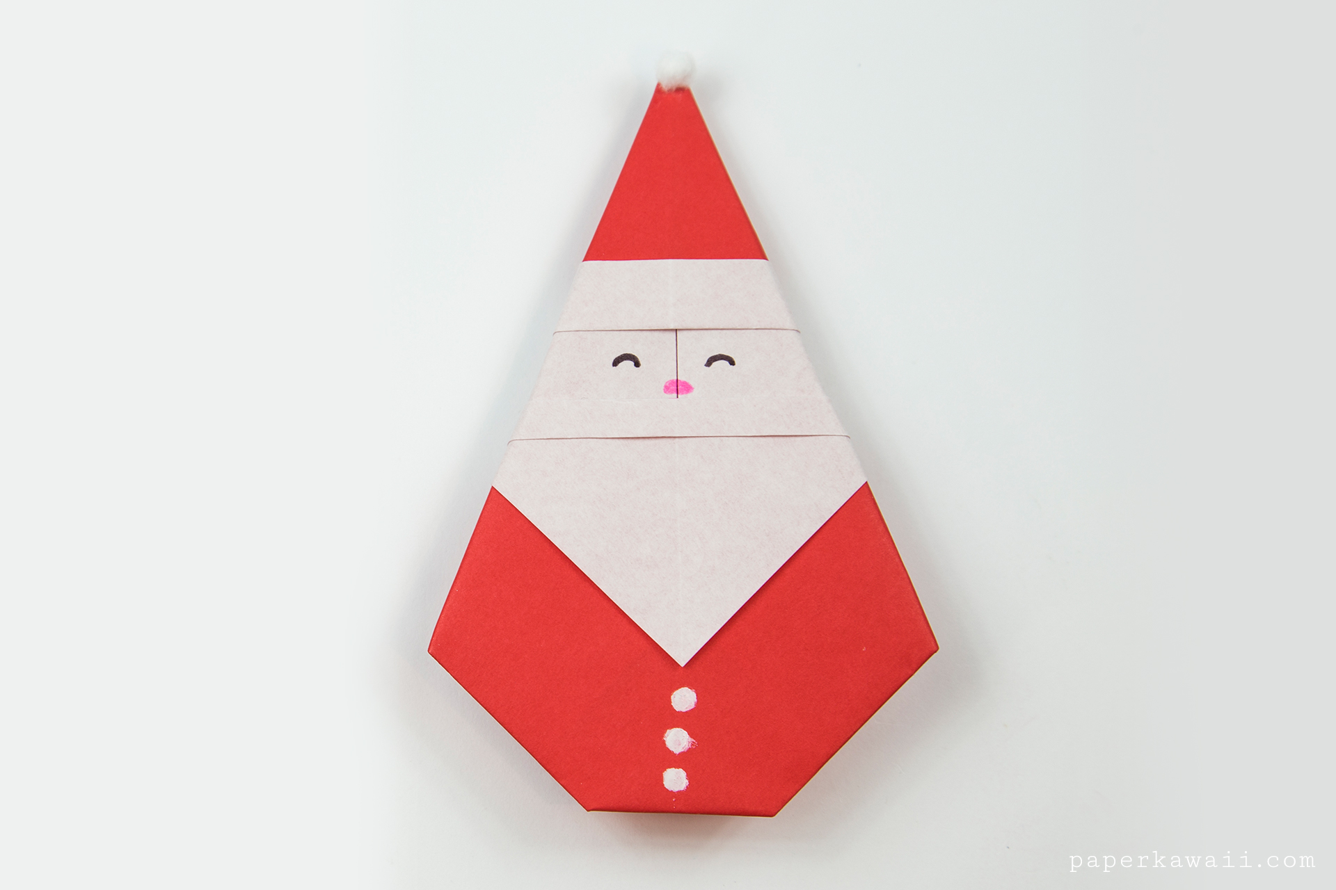 Easy Origami Santa Tutorial Paper Kawaii