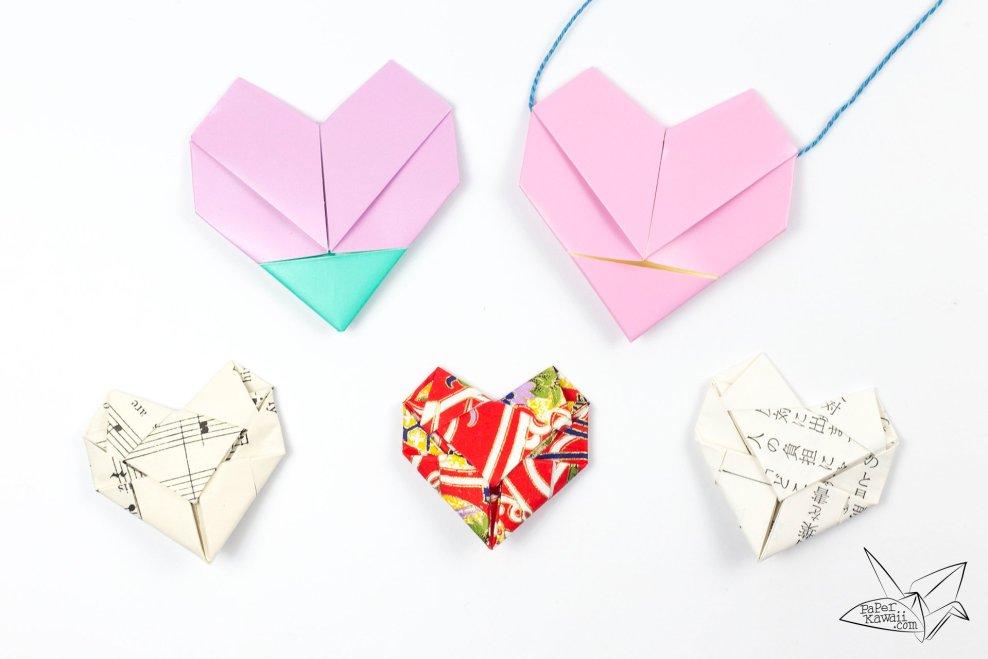 Origami Heart Necklace Tutorial - Heart Letterfold via @paper_kawaii