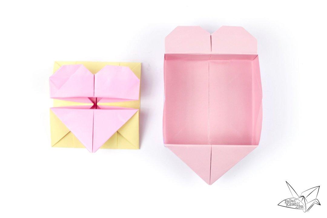 origami opening heart box envelope tutorial paper kawaii