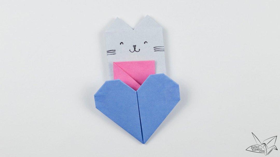 Origami Cat Heart Tutorial - Origami Heart Pocket
