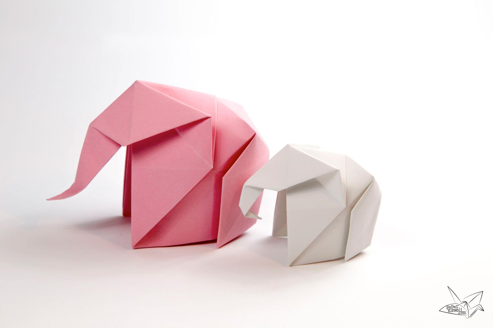 Origami elephant tutorial paper kawaii jeuxipadfo Choice Image