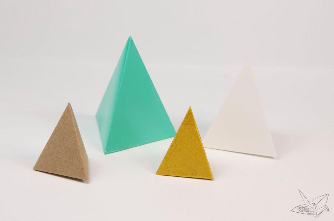 Origami Tetrahedron - 3 Sided Pyramid Tutorial via @paper_kawaii