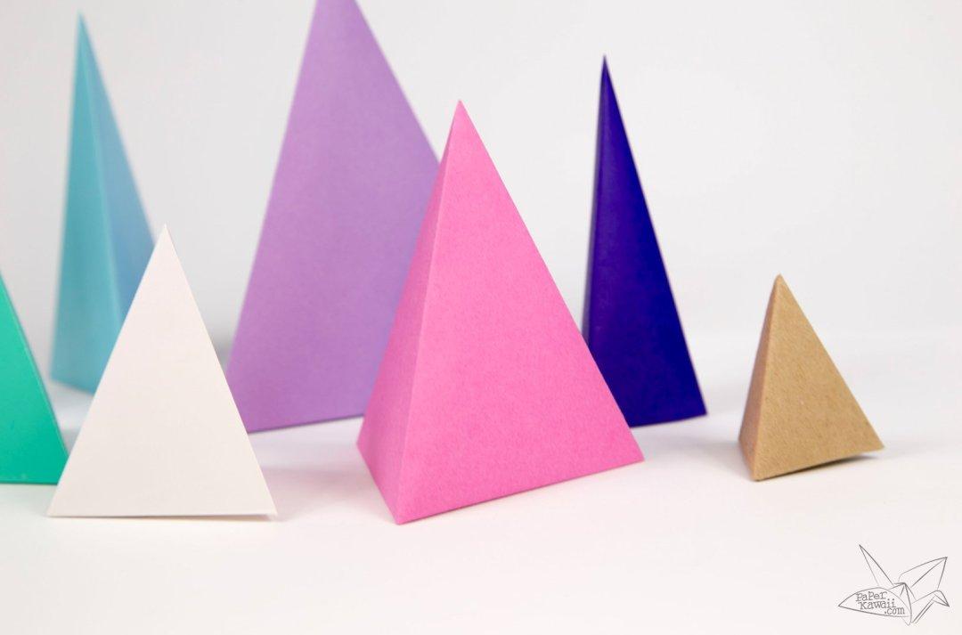 origami tetrahedron 3 sided pyramid tutorial paper kawaii