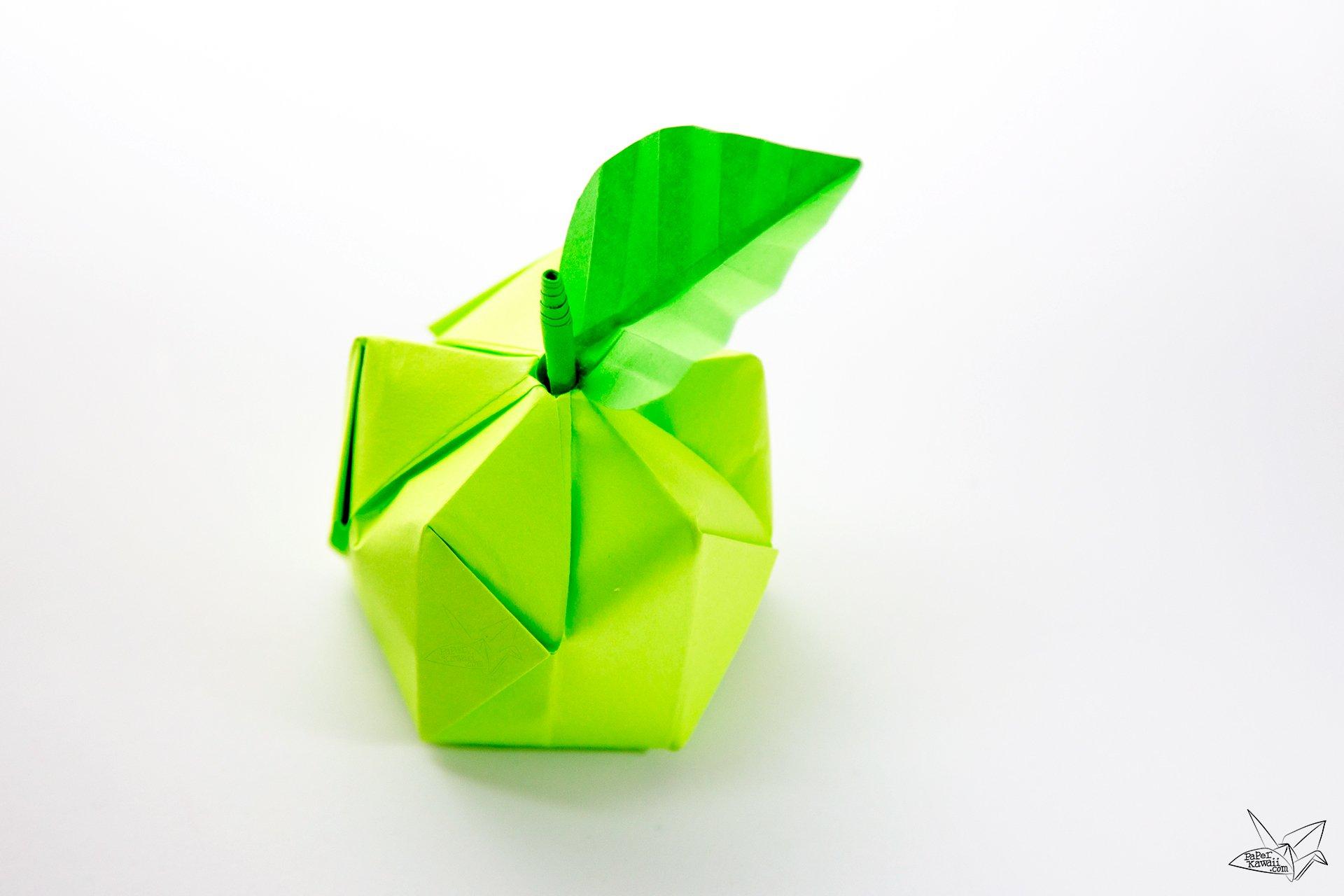 3d origami apple leaf tutorial paper kawaii jeuxipadfo Images