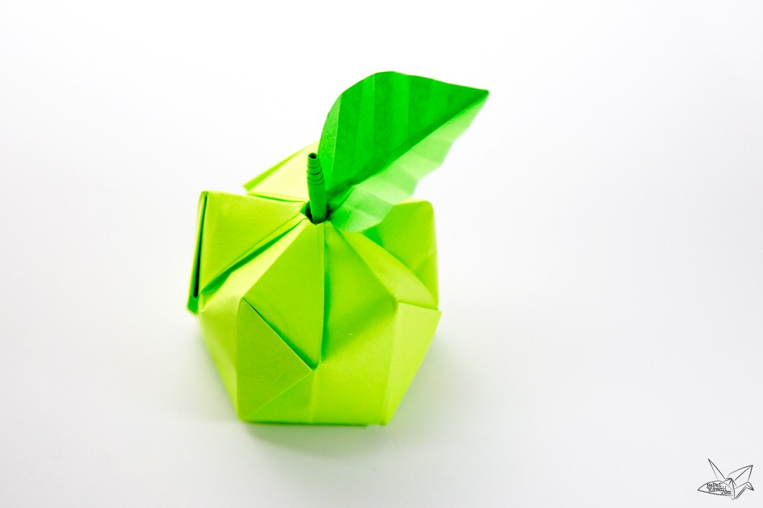 3d origami apple amp leaf tutorial paper kawaii