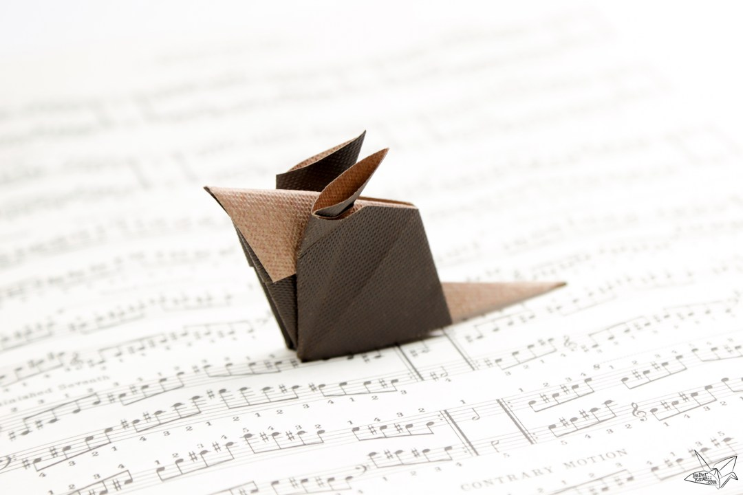 Cute origami mouse on music sheet paper - Paper Kawaii ♥︎