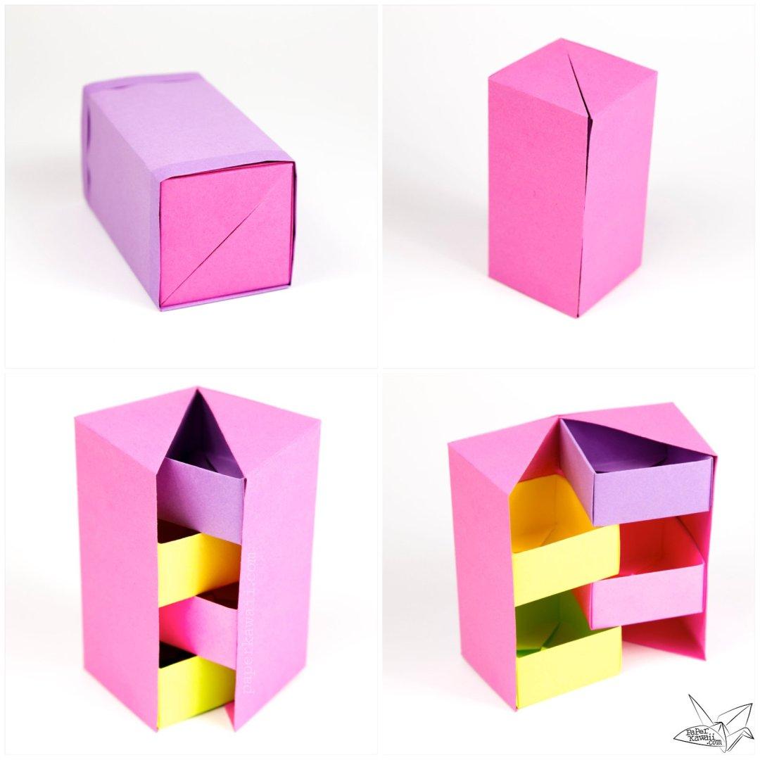 origami secret stepper box tutorial paper kawaii
