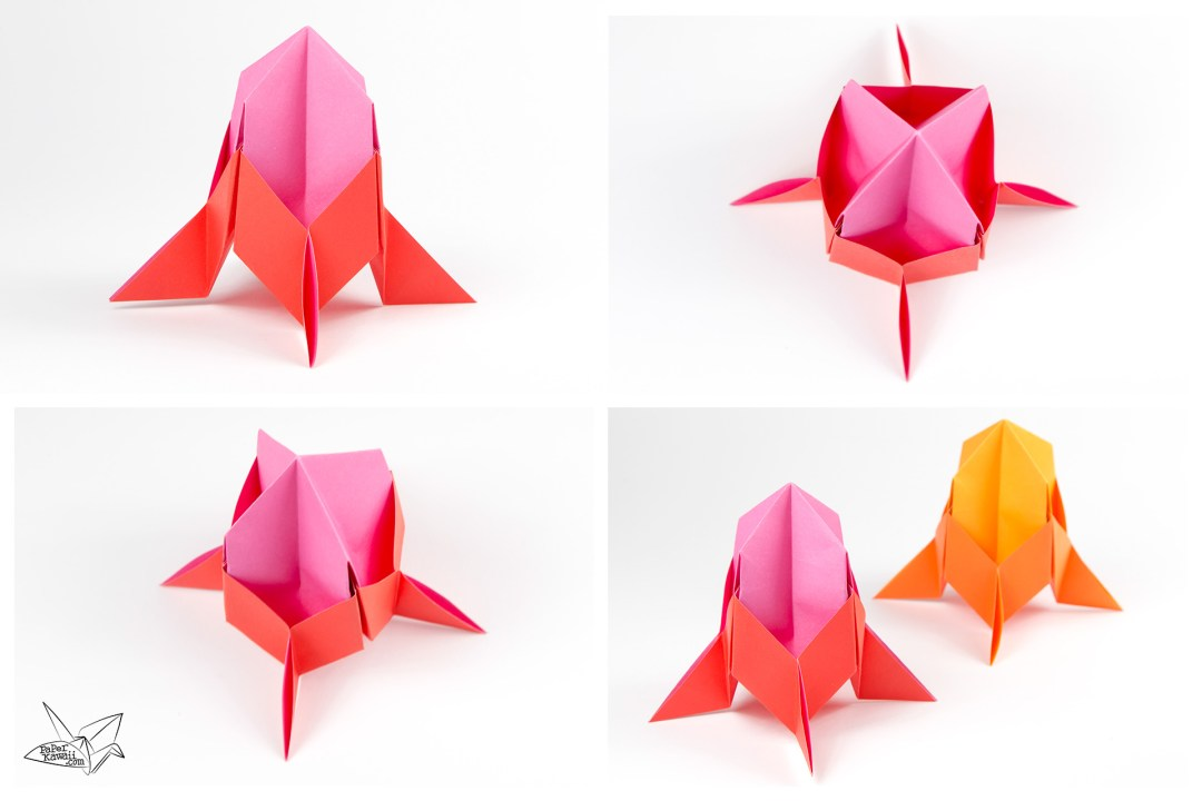 Learn How To Make An Easy Origami Spaceship This Three Dimensional Rocket Ship Is Enough For Kids Great Hang Up As Decorations Or