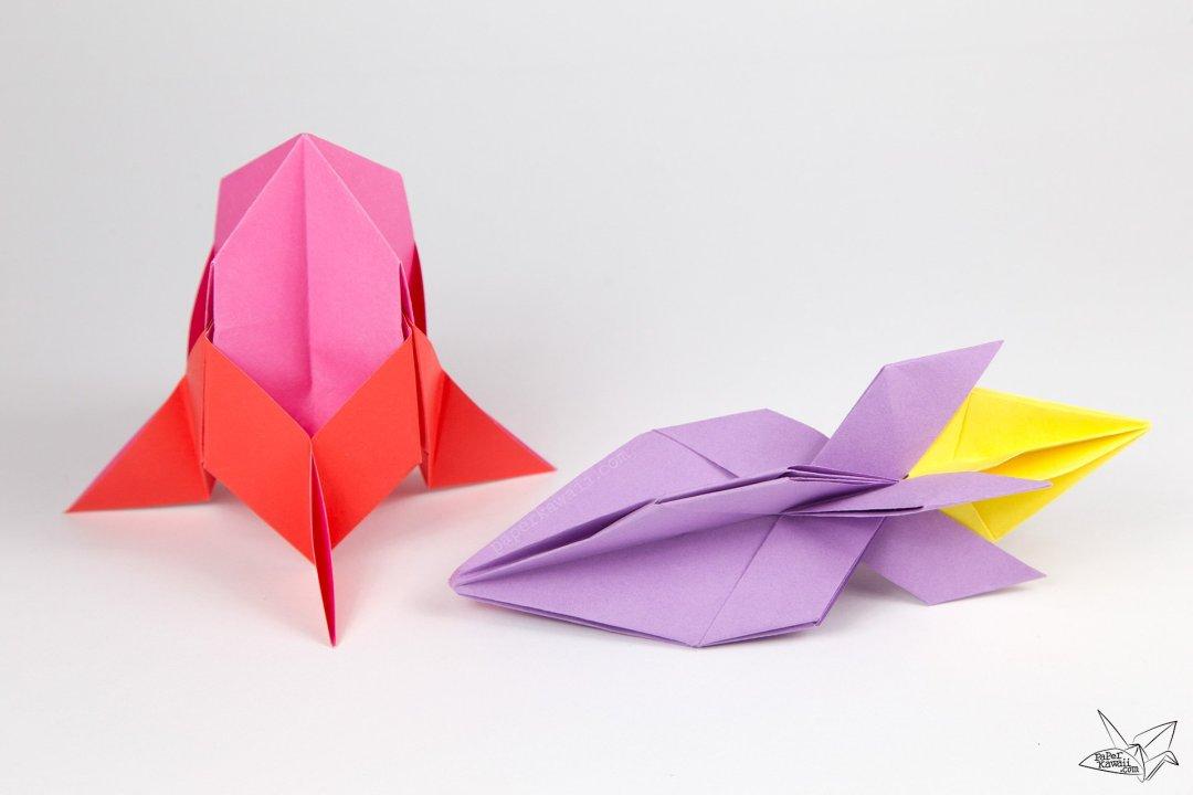 Easy Origami Rocket Spaceship Tutorial via @paper_kawaii