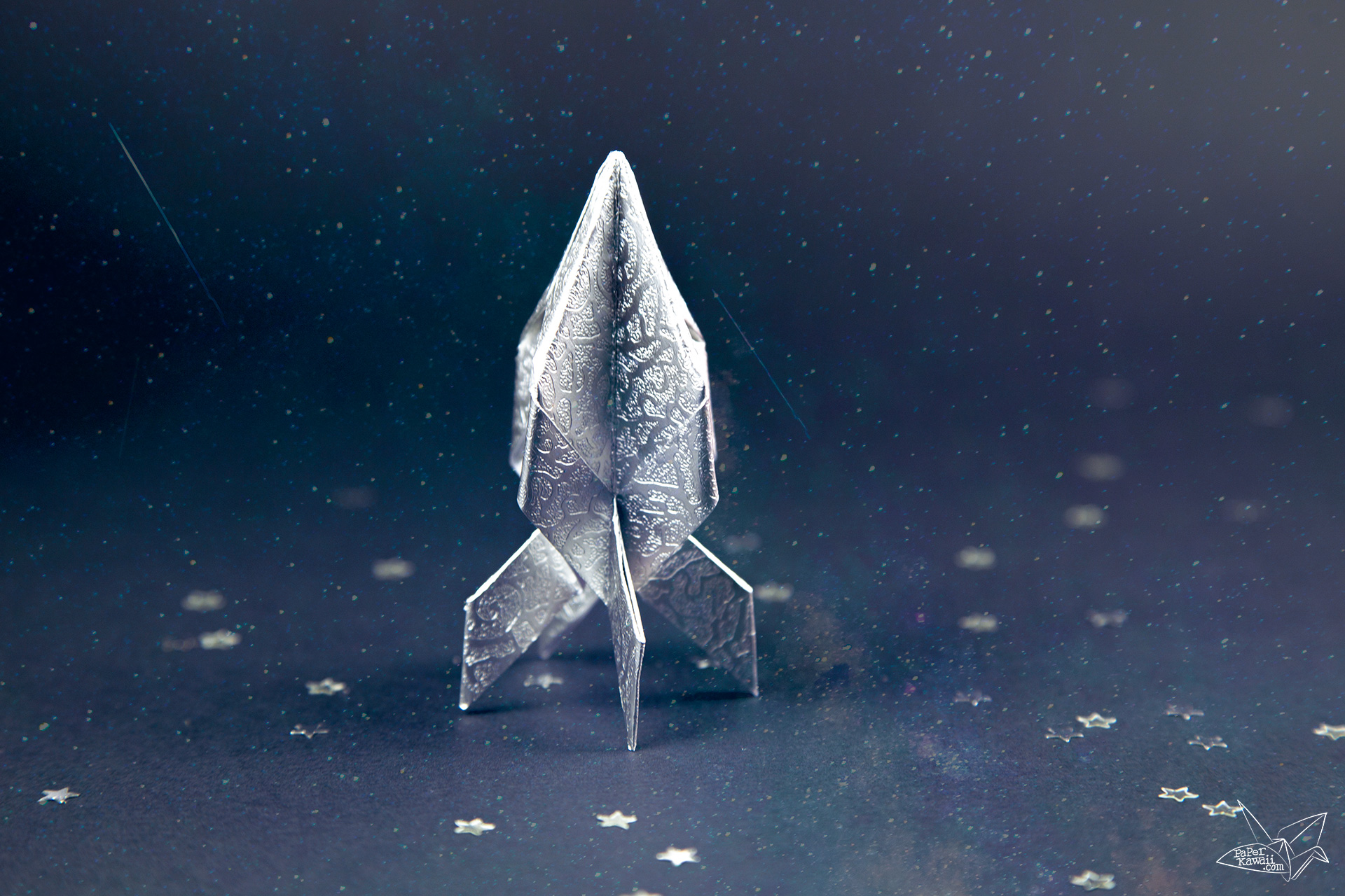 Origami Spaceship Tutorial - Origami Rocket - Paper Kawaii