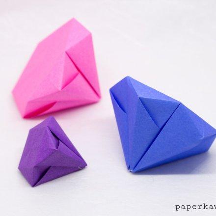 Round Origami Diamond Tutorial via @paper_kawaii