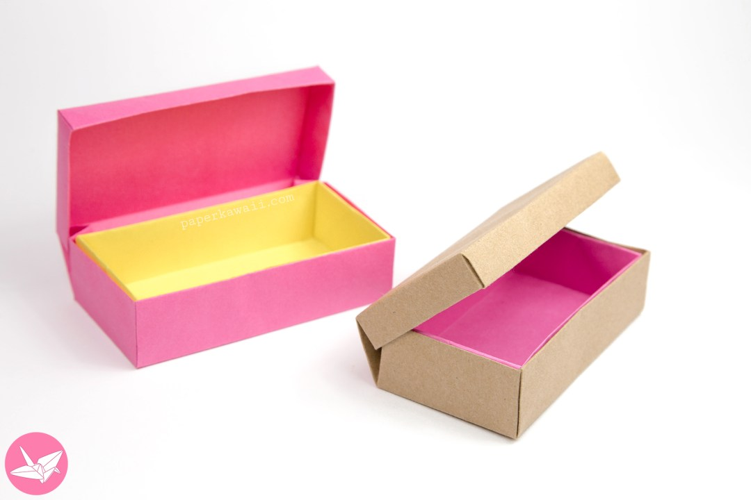 Origami Long Hinged Box Tutorial - Treasure Chest Box via @paper_kawaii