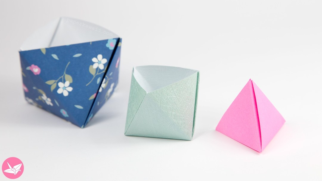 Origami Pyramid Gift Box, Pot or Decoration Tutorial via @paper_kawaii