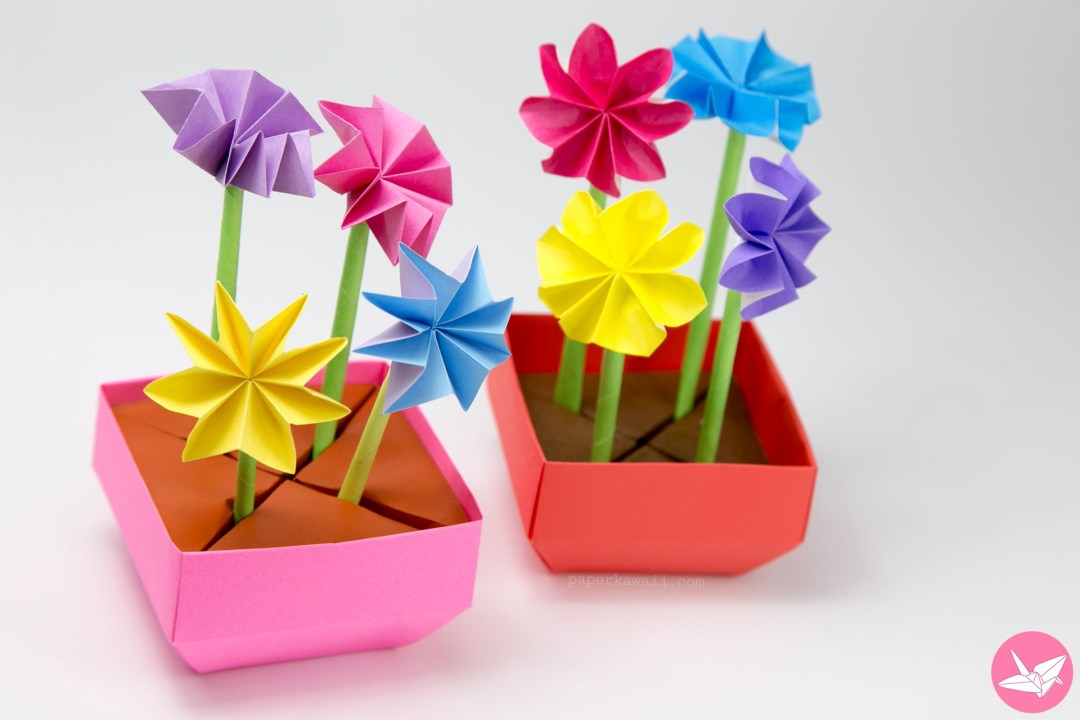 Origami Flower Pot & Stem Holder Tutorial via @paper_kawaii