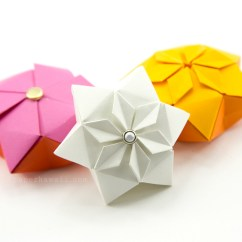 Star Flower Origami Diagram Leadership Tree Hexagonal Puffy Tutorial Paper Kawaii