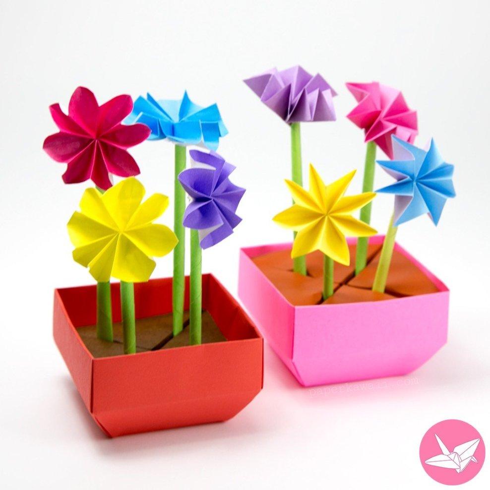 Origami Flower Pot & Stem Holder Tutorial via @paper_kawaii