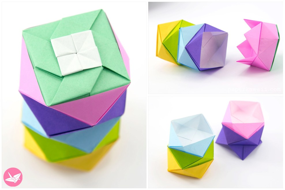 Origami Stacking Boxes Tutorial via @paper_kawaii