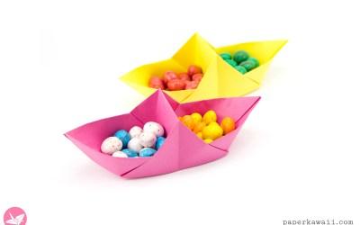 Origami Basket Boat Tutorial – Divided Basket