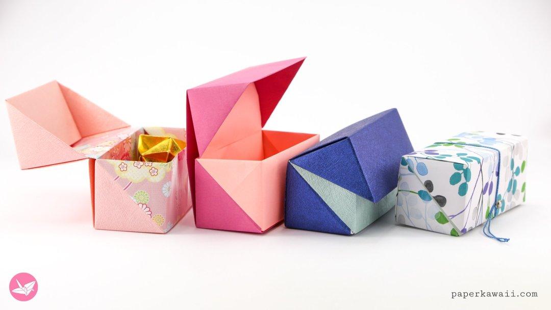 origami hinged box tutorial medium size paper kawaii