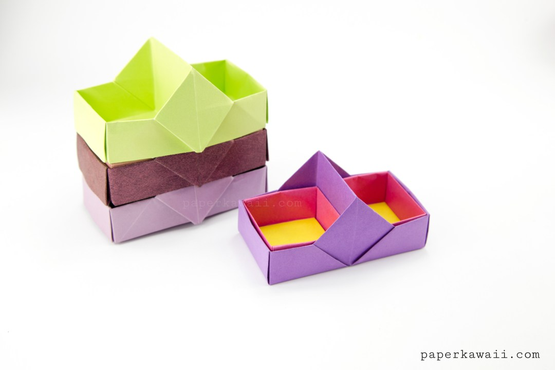 two sectioned origami tray box tutorial paper kawaii