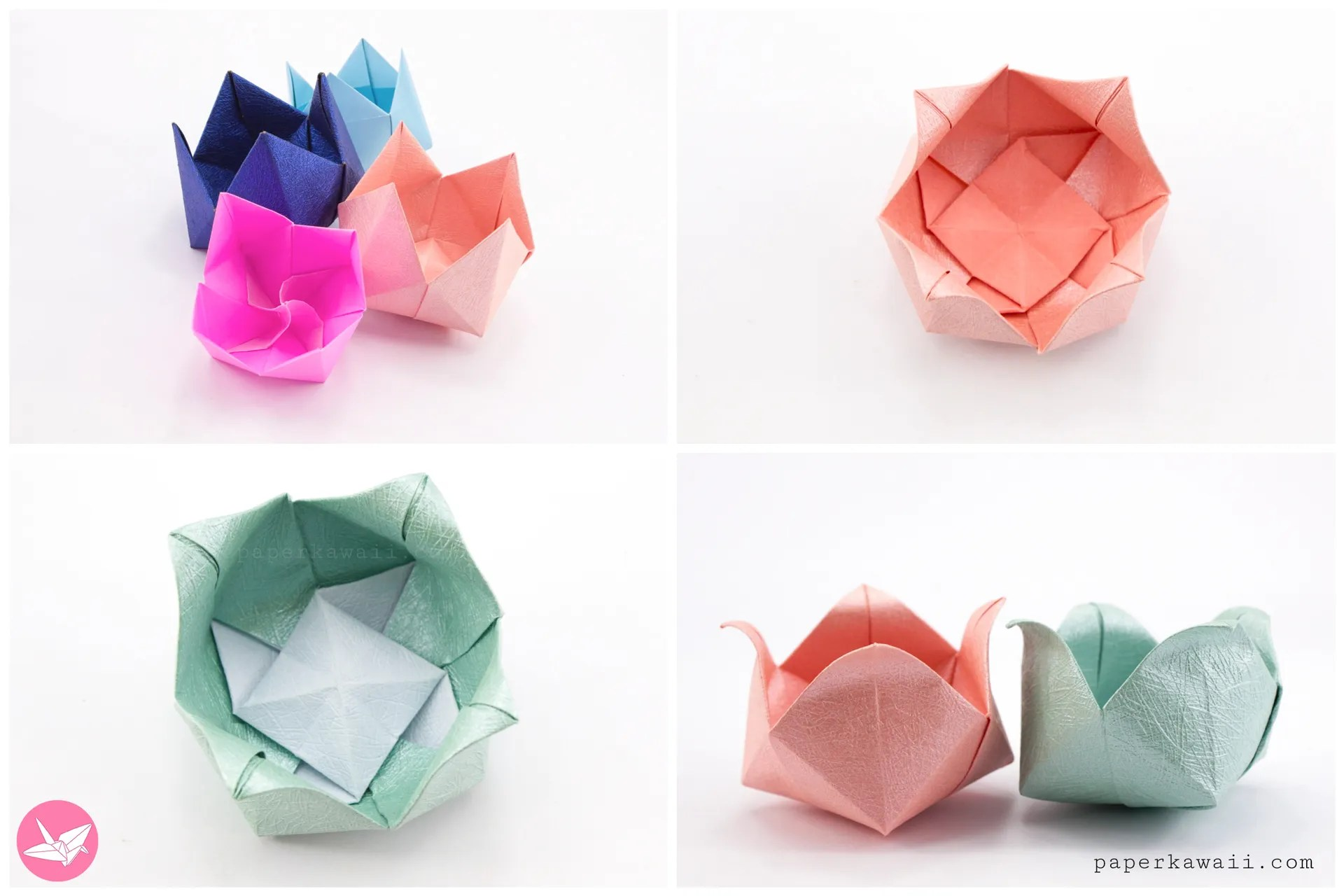 origami pinwheel flower bowl tutorial paper kawaii