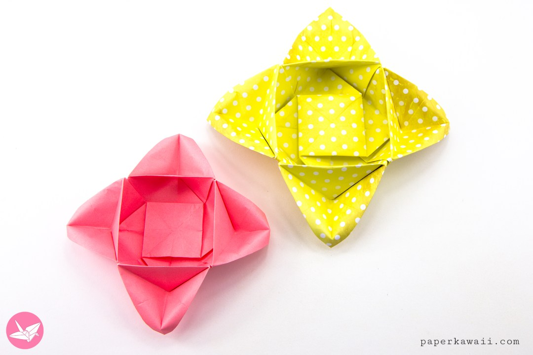 Origami star flower bowl box tutorial paper kawaii learn how to make an origami star flower bowl this origami boxs edges can look like a four point star or flower petals made from one sheet of square mightylinksfo