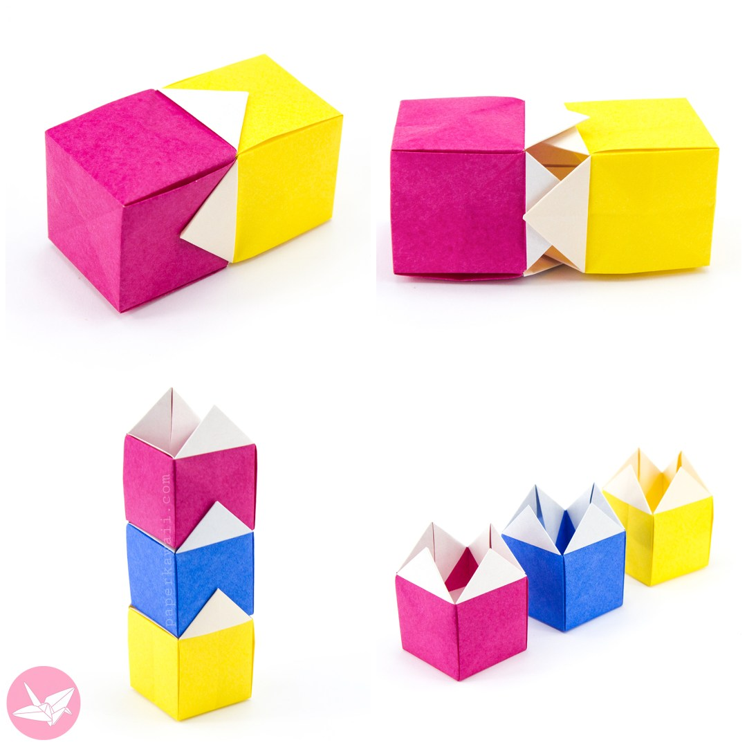 Origami Stackable House Box Tutorial via @paper_kawaii