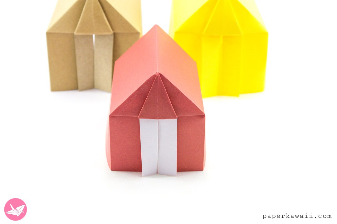 Learn How To Make A Cute Origami Tent Or House From 1 Sheet Of Square Paper No Glue Required This Is Based On The Organ Fold