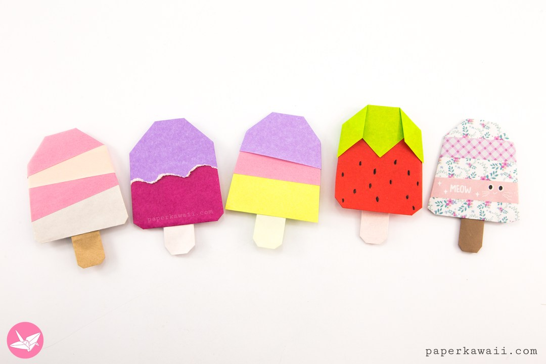 Origami Popsicle Tutorial - Origami Ice Lolly via @paper_kawaii