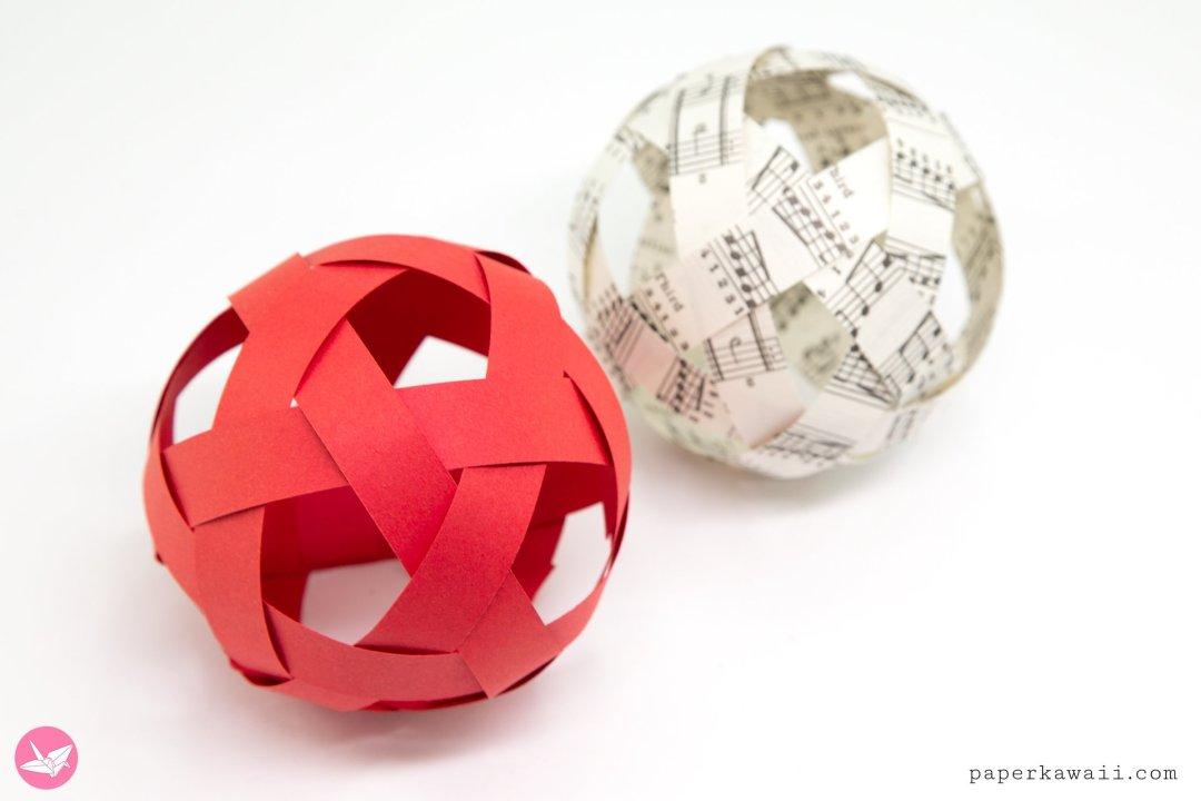 Easy Woven Paper Ball Decoration Tutorial via @paper_kawaii