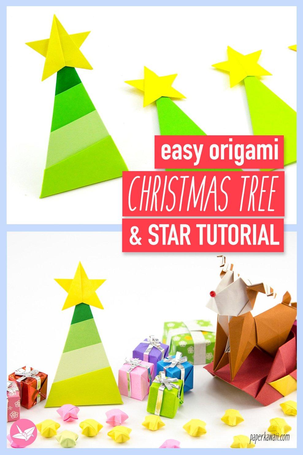 Simple Origami Christmas Tree Tutorial Paper Kawaii Ornaments On A Star Diagram Via