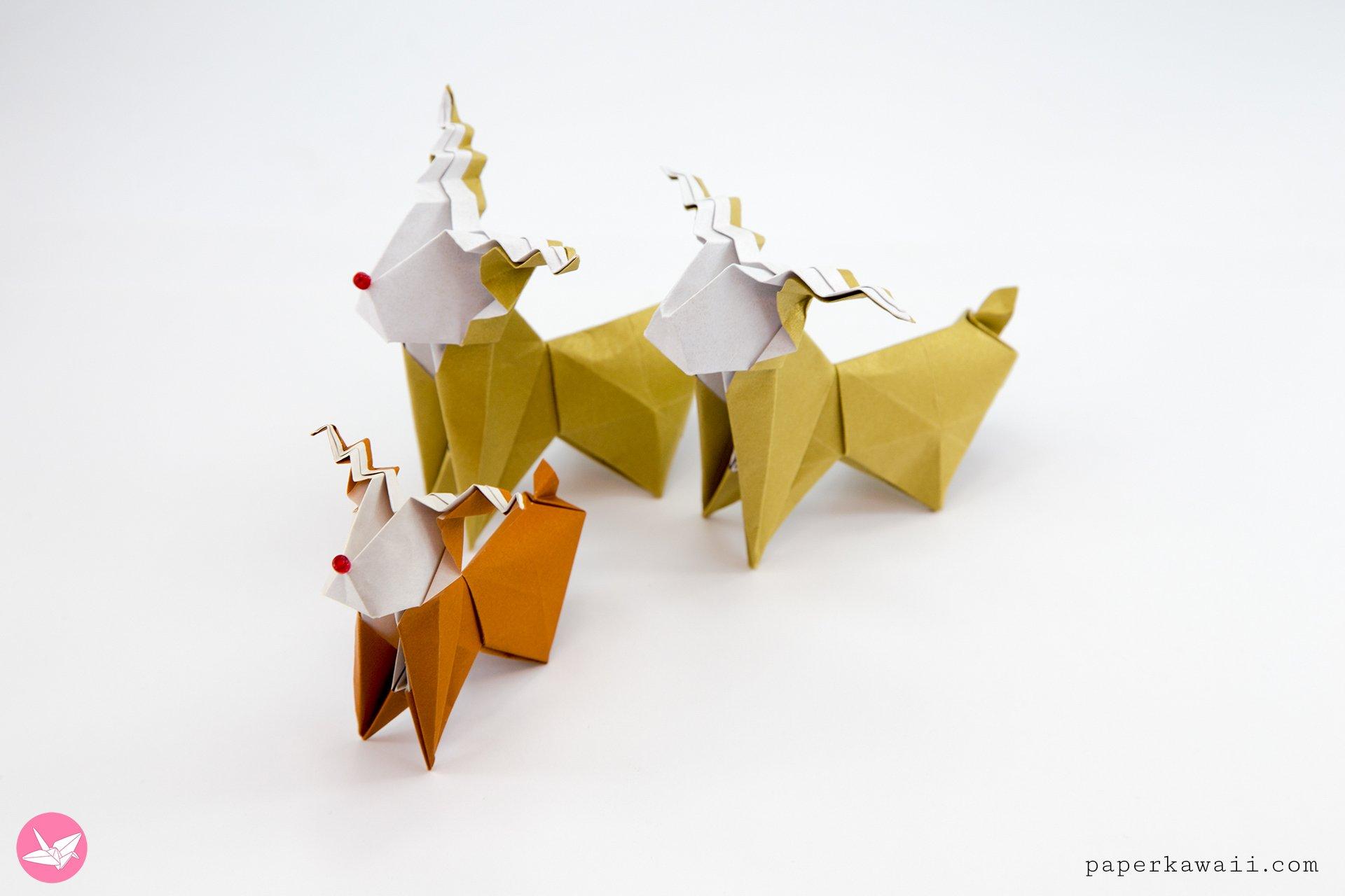 Origami Reindeer Tutorial - Make a cute paper Rudolf ... - photo#49