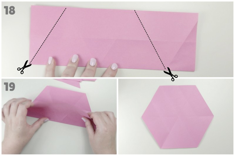Hexagon From A Square via @paper_kawaii