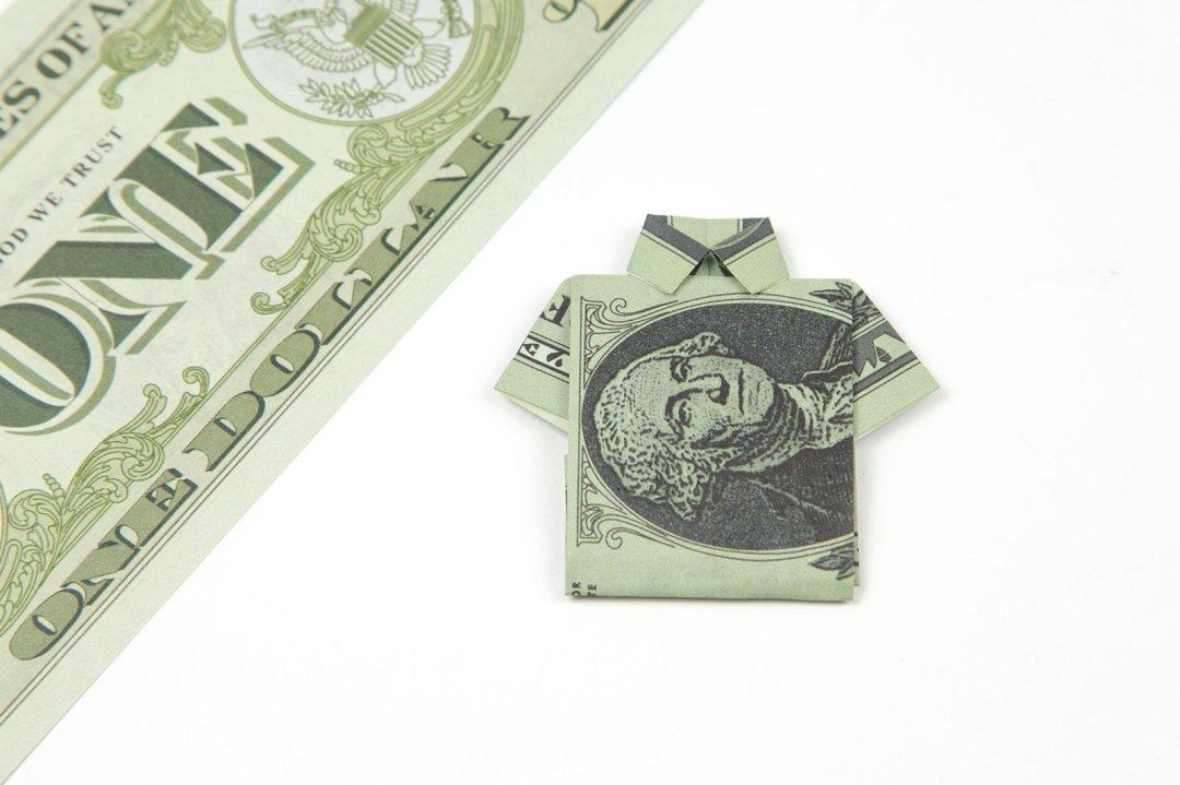 Money Origami - a Dollar Bill folded (Polo Shirt with Tie) ... | 719x1080