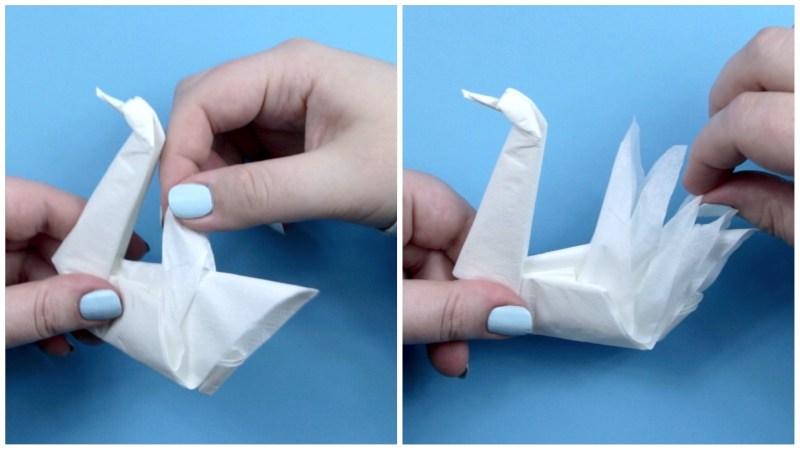 Swan Napkin via @paper_kawaii