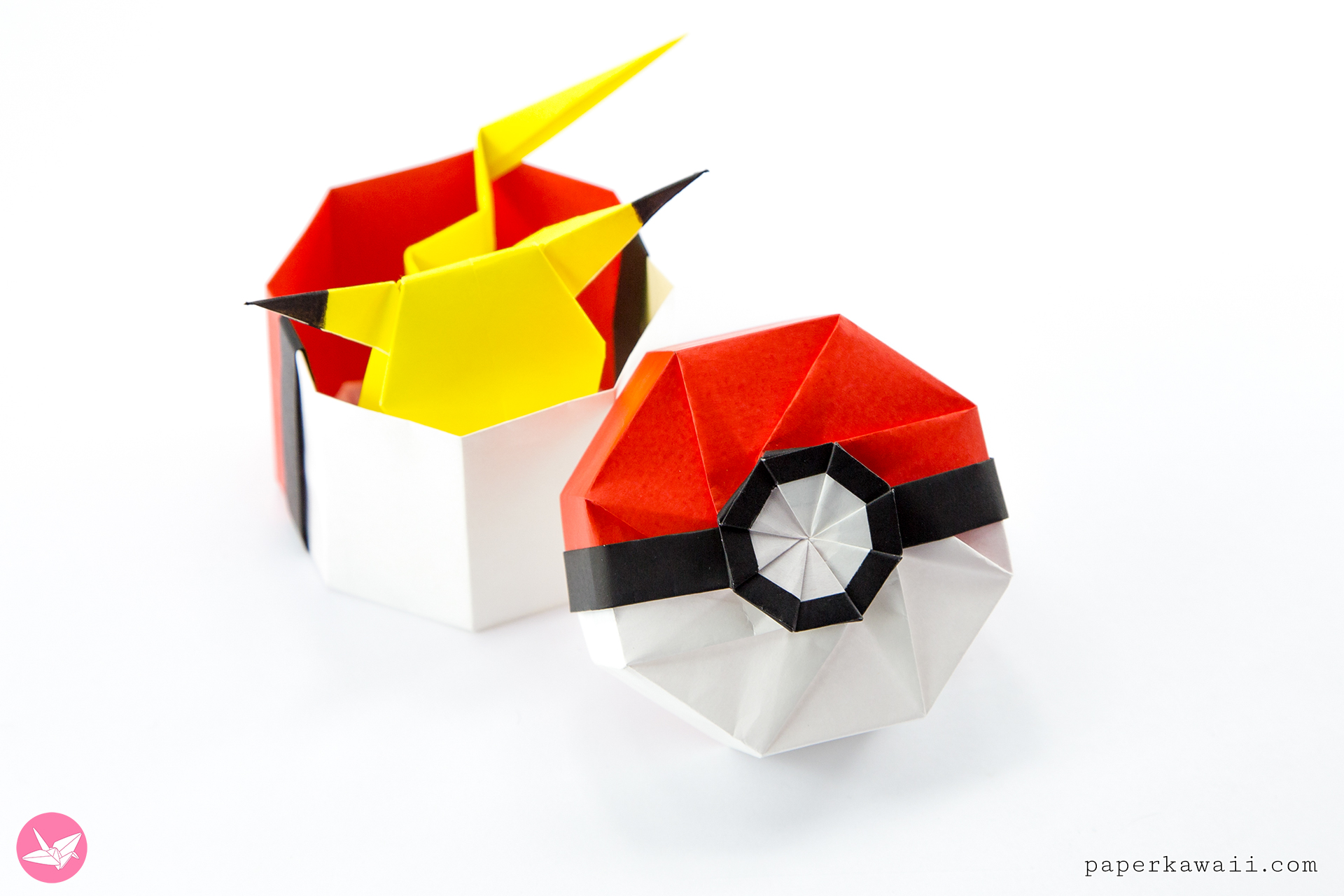 origami pokeball box tutorial paper kawaii rh paperkawaii com