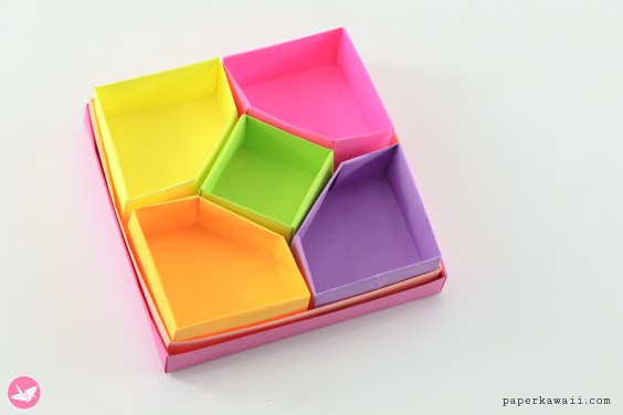 Origami Diamond Divider Box Tutorial – 5 Sections