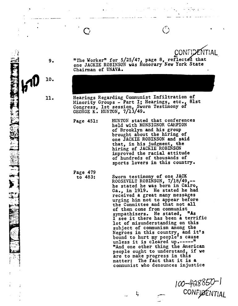 Jackie Robinson FBI Files