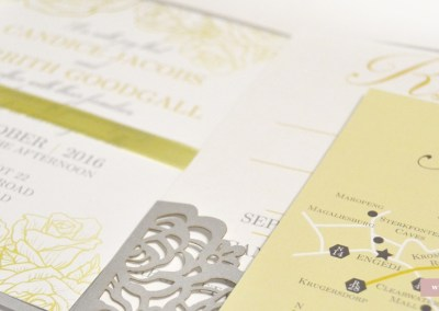 silver and yellow wedding invitations