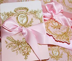 Marie Antoite Cameo Pink And Gold Silhouette Invitations